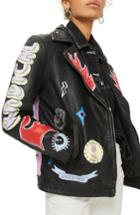 Women's Topshop Painted Leather Biker Jacket - Black