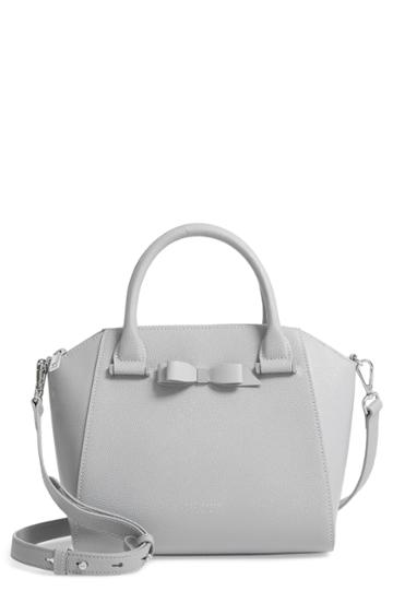 Ted Baker London Jannie Bow Leather Tote - Grey