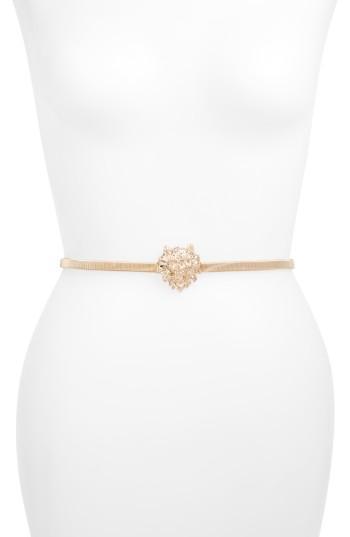 Women's Amici Accessories Lion Head Stretch Belt, Size - Gold