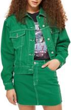 Women's Topshop Boxy Denim Jacket Us (fits Like 0) - Green
