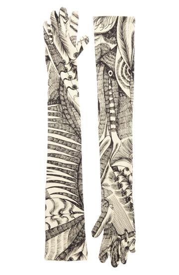 Women's Dries Van Noten Tattoo Print Gloves - Ivory
