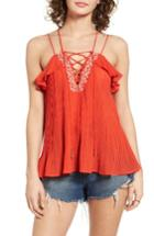 Women's Moon River Lace-up Pleated Tank
