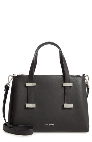 Ted Baker London Julieet Large Adjustable Handle Leather Satchel - Black