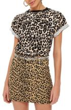 Women's Topshop Leopard Print Tee Us (fits Like 0) - Black