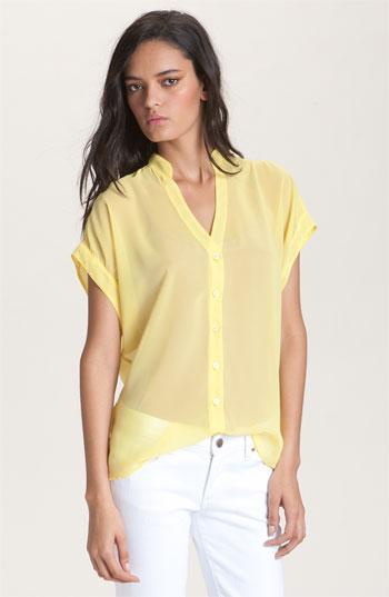 Red Haute Slouchy Mandarin Collar Sheer Shirt