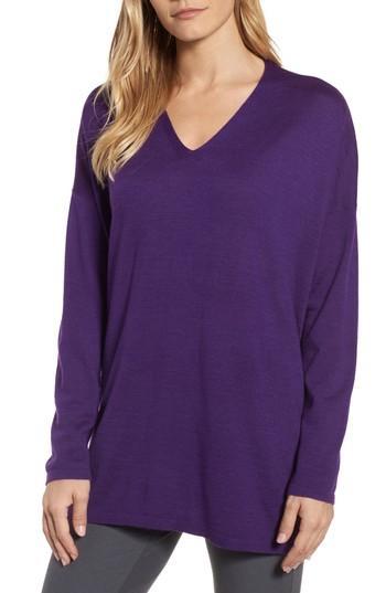 Petite Women's Eileen Fisher Merino Wool Tunic Sweater, Size P - Purple