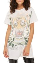 Women's Topshop Tiger Corset Tee Us (fits Like 0) - White