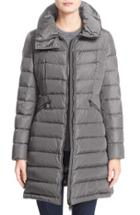 Women's Moncler 'flammette' Water Resistant Long Hooded Down Coat - Grey