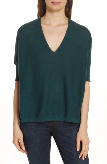 Women's Eileen Fisher Merino Wool Three Quarter Sleeve Sweater - Green