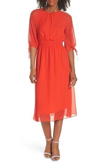 Petite Women's Maggy London Smocked Chiffon Dress P - Orange