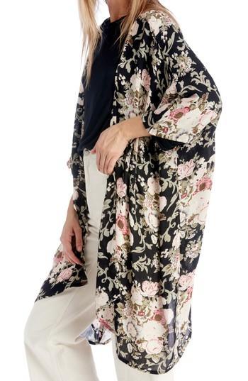 Women's Sole Society Romantic Floral Kimono, Size - Black