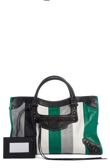 Balenciaga Classic City Stripe Leather Tote -