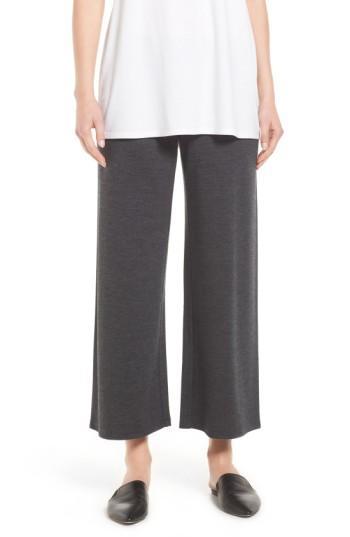 Petite Women's Eileen Fisher Wool Jersey Wide Leg Ankle Pants P - Black
