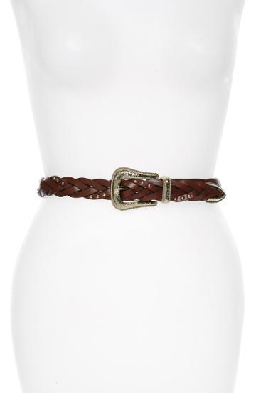 Women's Rebecca Minkoff Lara Braided Leather Belt /small - Saddle