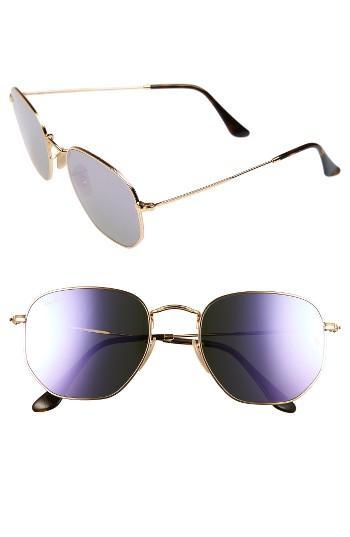 Women's Ray-ban 54mm Oval Aviator Sunglasses - Gold/ Purple