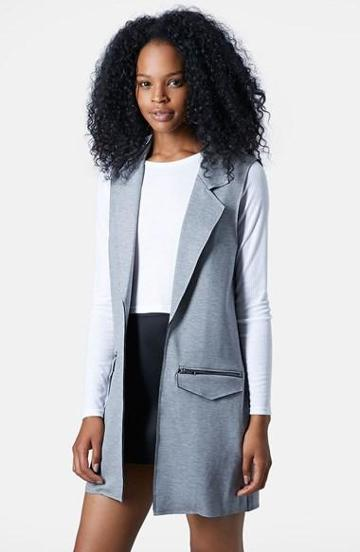 Women's Topshop Sleeveless Ponte Jacket