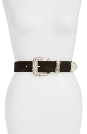 Women's Deborah Drattell Ninette Crystal Buckle Suede Belt - Black