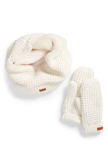 Women's Barbour Fleece Lined Snood & Mittens Set - White