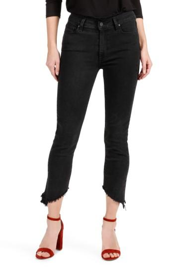 Women's Paige Julia High Waist Straight Leg Jeans With Angled Hems - Black