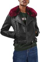 Women's Topshop 'honey' Faux Fur Collar Faux Leather Moto Jacket