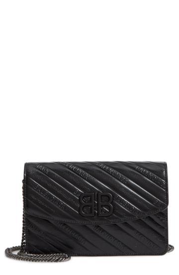 Women's Balenciaga Bb Quilted Calfskin Clutch - Black