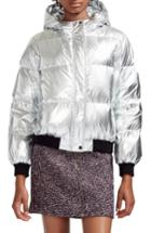 Women's Maje Hooded Metallic Puffer Jacket - Metallic