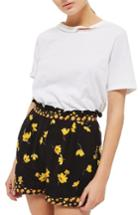 Women's Topshop Floral Shorts Us (fits Like 0) - Black
