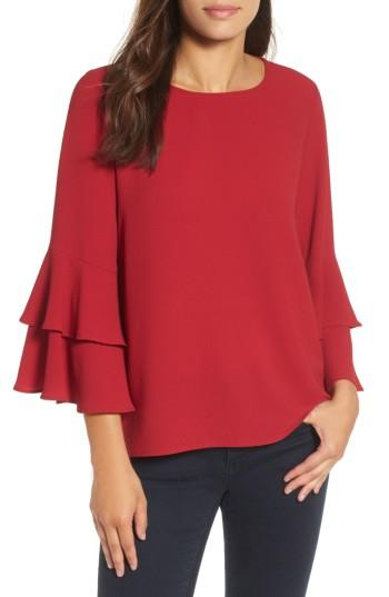Women's Gibson Ruffle Bell Sleeve High/low Tunic, Size - Red