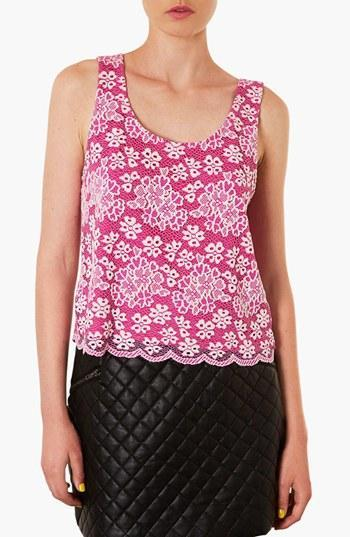 Topshop Scalloped Lace Tank Pink