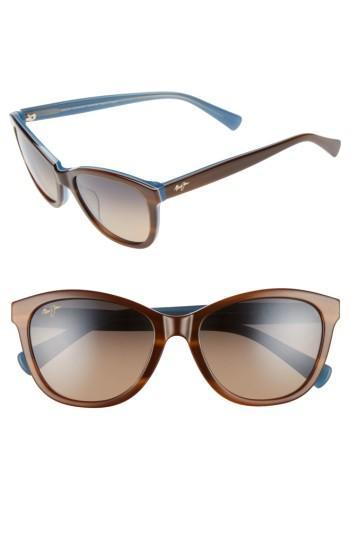 Women's Maui Jim Canna 54mm Polarized Cat Eye Sunglasses - Tort White Blue/ Bronze