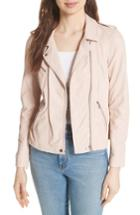 Women's Rebecca Taylor Leather Moto Jacket - Beige