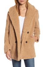 Women's Kensie Teddy Bear Notch Collar Faux Fur Coat