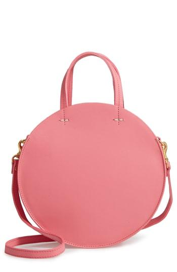 Clare V. Petit Alistair Leather Circular Crossbody Bag - Pink
