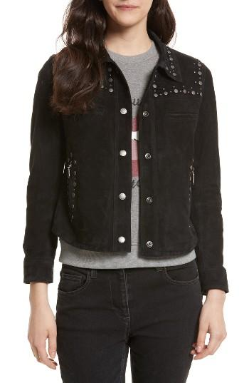 Women's Rebecca Minkoff Herring Studded Suede Jacket, Size - Black