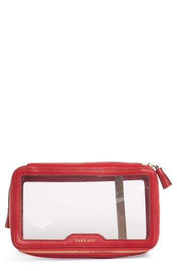 Anya Hindmarch Inflight Clear Cosmetics Case, Size - Clear/ Red