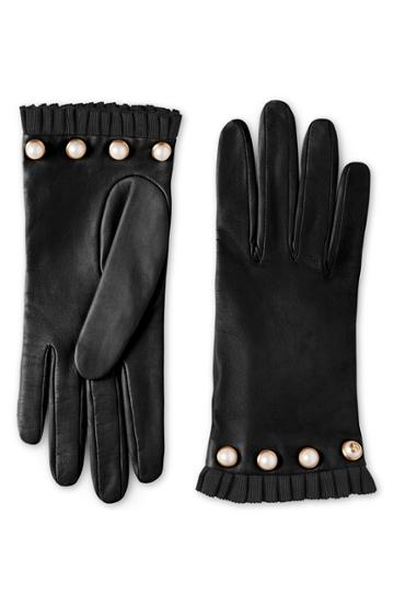 Women's Gucci Nappa Leather Gloves With Grosgrain & Imitation Pearl Trim
