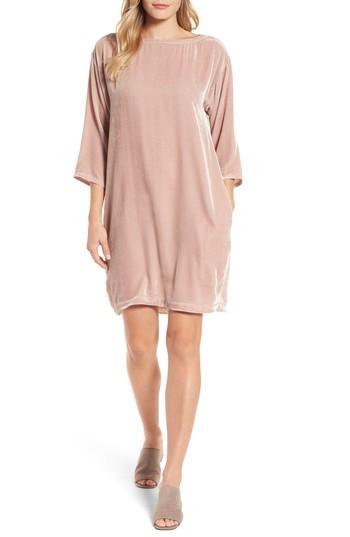 Petite Women's Eileen Fisher Velvet Shift Dress P - Pink