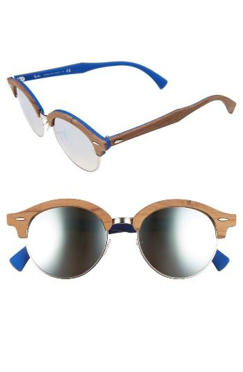 Women's Ray-ban 51mm Mirrored Round Sunglasses - Silver/ Blue