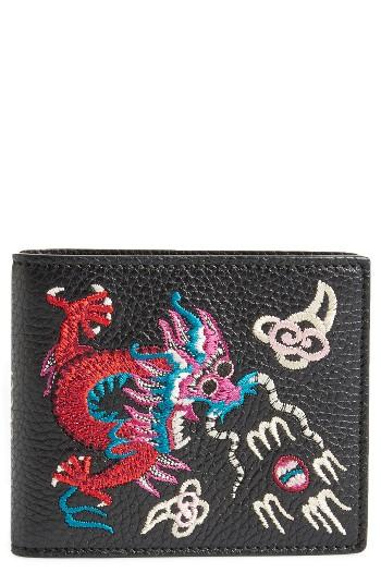 Men's Gucci Dragon Leather Wallet - Black