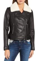 Women's Michael Michael Kors Genuine Shearling Moto Jacket - Black