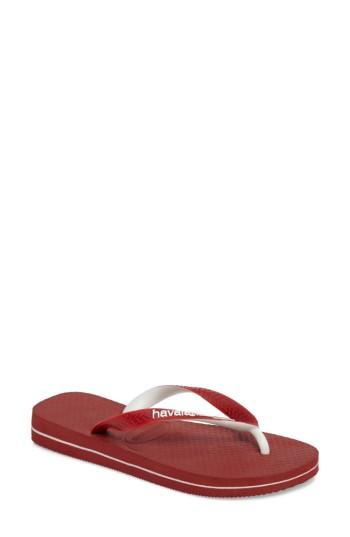 Women's Havaianas Top Mix Usa Flag Flip Flop /38 Br - Red