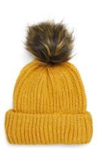 Women's Topshop Faux Fur Pompom Beanie - Yellow