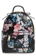 Bp. Mini Floral Faux Leather Mini Backpack - Black