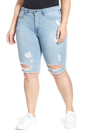 Women's Good American Destroyed Denim Bermuda Shorts - Blue