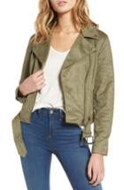 Women's Cupcakes And Cashmere Faux Suede Moto Jacket - Green