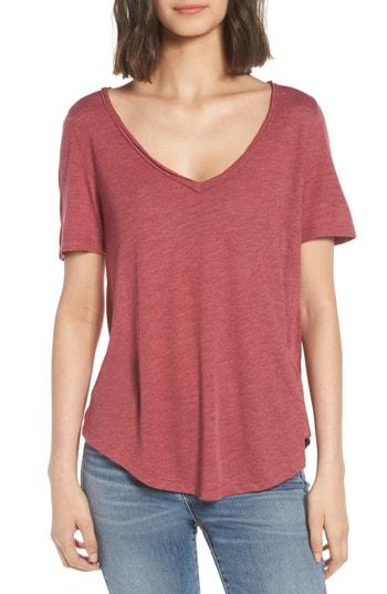 Women's Bp. Raw Edge V-neck Tee - Red