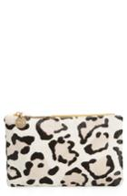 Clare V. Snow Leopard Print Genuine Calf Hair Pouch - White