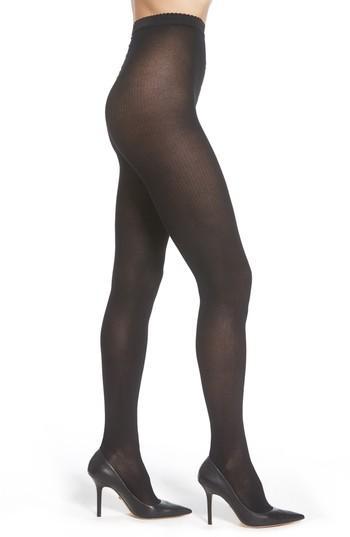 Women's Wolford Superfine Rib Knit Tights - Black