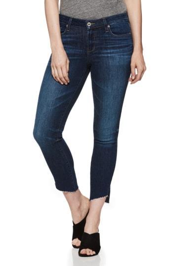 Women's Paige Verdugo Angled Raw Hem Crop Jeans - Blue