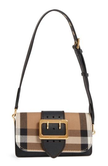 Burberry Small Buckle House Check & Leather Convertible Clutch - Black